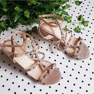 Jewel Badgley Mischka Rose Gold Glitter Sandals